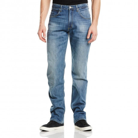 Lee Brooklyn Straight Denim Stretch Jeans Electric Blue Image