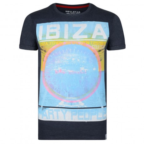 Soul Star Print T-shirt Ibiza Party People Navy Blue Image