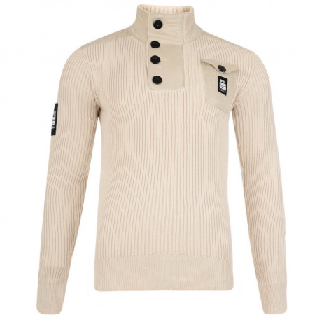 Crosshatch Ribbed Cotton Knit Jumper Beige Image