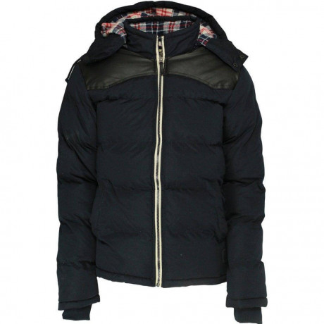 Soul Star Padded Hooded Swoosh Jacket Navy Blue Image