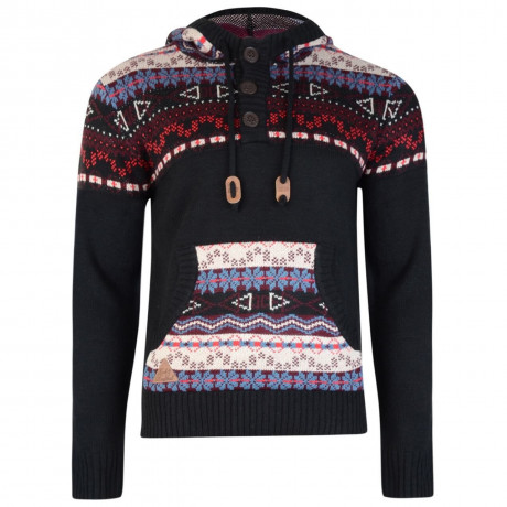 Rock & Revival Yates Fair Isle Hooded Knit Jumper Black Image