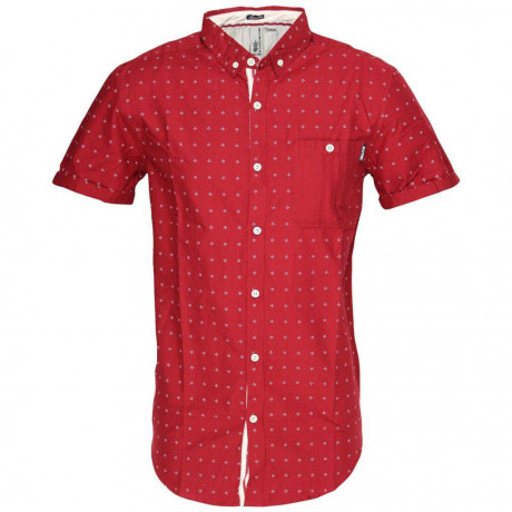Soul Star Poker Dott Short Sleeve Cotton Shirt Burgundy Image