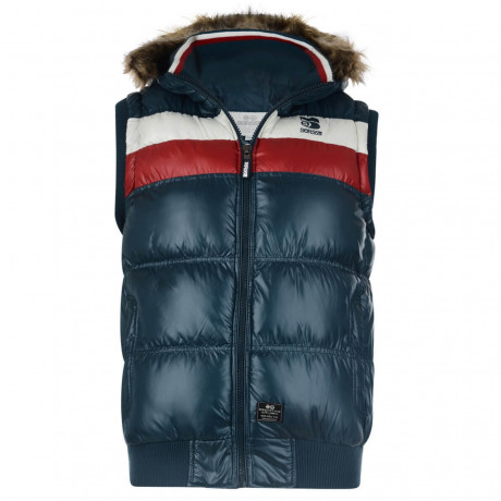 Crosshatch Hooded Parka Gilet Bodywarmer Navy Blue Image