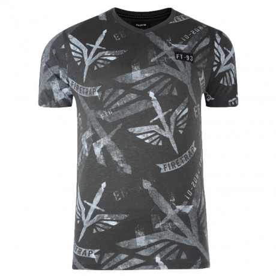 Firetrap Printed Killip T-shirt Dark Grey Shadow | Printed Tee Image