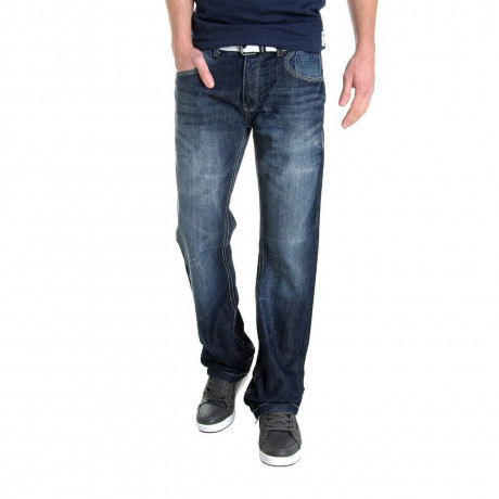 Crosshatch Straight Fit Denim Jeans Faded Dark Wash Blue Image