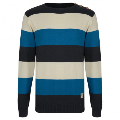 Crosshatch Crew Neck Striped Jumper Blue Image