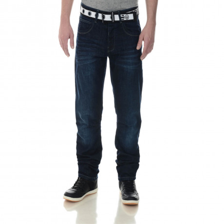 Crosshatch Straight Fit Trackero Jeans Faded Dark Wash Image