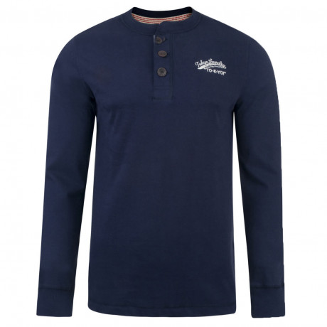 Tokyo Laundry Crew Neck Henley Top Navy Blue Image