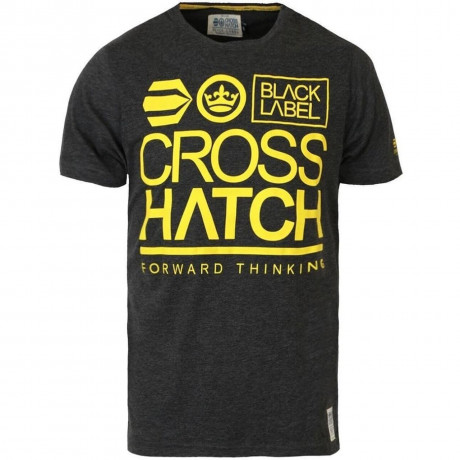Crosshatch Printed Large Go Logo T-shirt Dark Grey Image