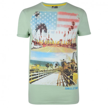 Soul Star Print T-shirt California Golden State Green Image