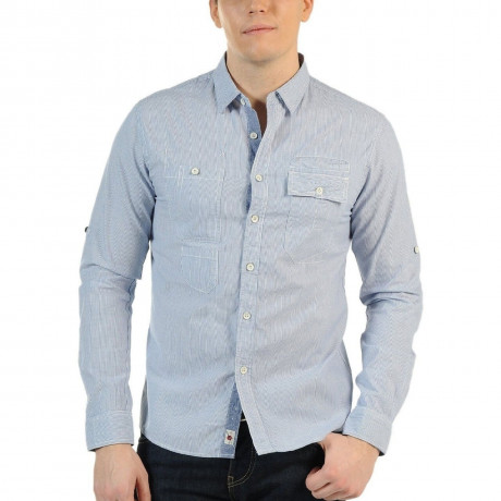 Soul Star Long Sleeve Shirt Stripe Blue Image