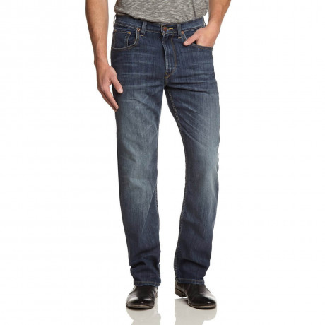 Lee Brooklyn Straight Denim Stretch Jeans Blue Stone Used Image