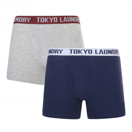 Tokyo Laundry 2 Pack Boxer Shorts Underwear Light Grey & Blue Image