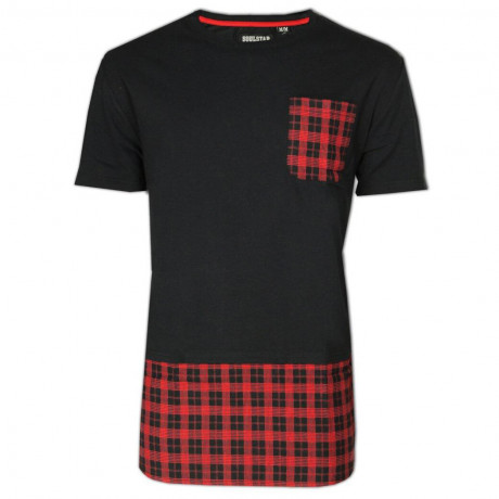 Soul Star Crew Neck Long Length Tartan T-shirt Black Image