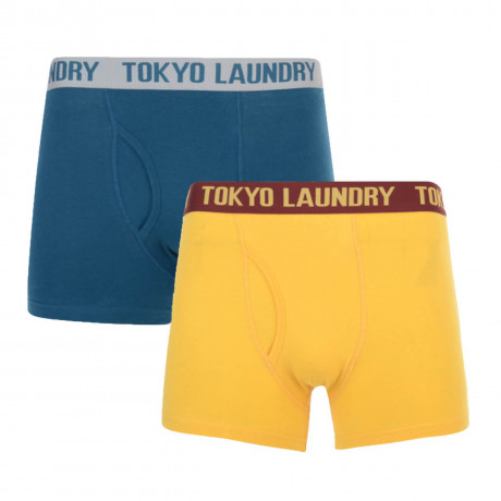 Tokyo Laundry 2 Pack Boxer Shorts Underwear Yellow & Blue Image