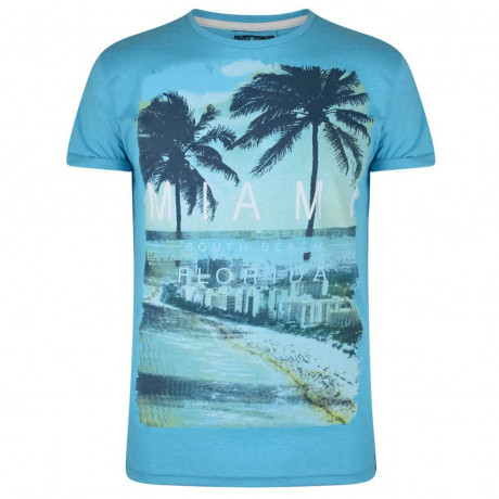 Soul Star Print T-shirt Miami South Beach Florida Blue Image
