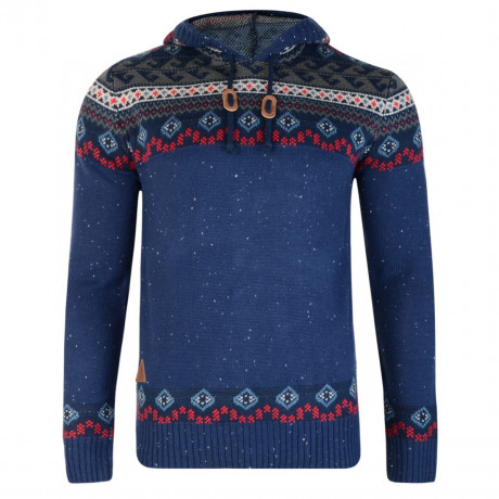Rock & Revival Olly Fair Isle Hooded Knit Jumper Navy Blue Image