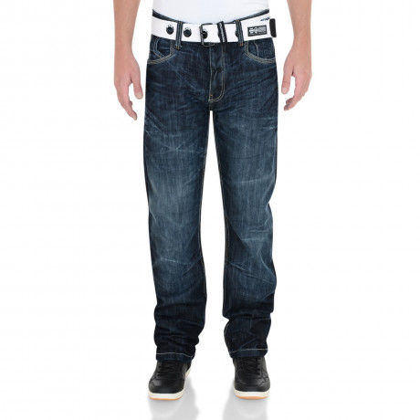 Crosshatch Straight Fit Hornet Jeans Faded Dark Wash Image