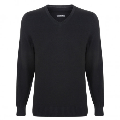 Esprit V-Neck Cotton Blend Jumper Black Image