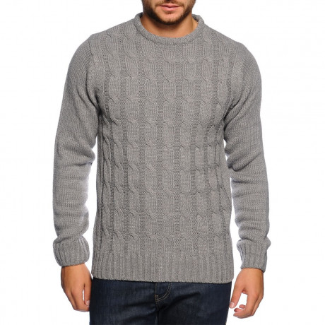 Soul Star Crew Neck Knitted Twister Jumper Grey Melange Image