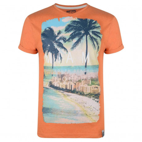 Soul Star Print T-shirt Miami South Beach Florida Orange Image
