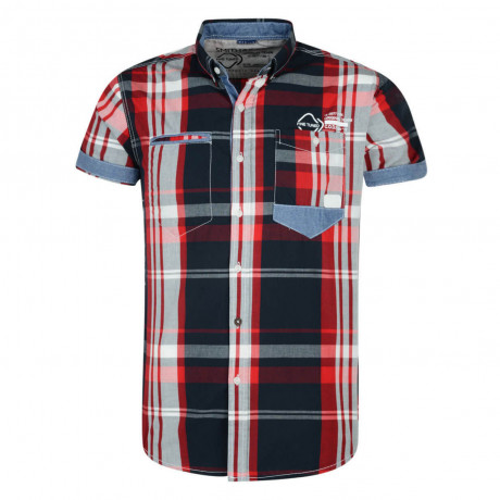 Smith & Jones Narrow Check Shirt Short Sleeve Red Image
