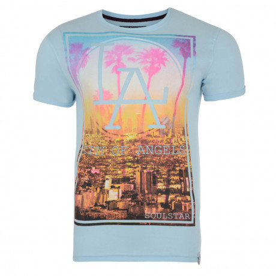 Soul Star Print T-shirt LA Sky Blue Image