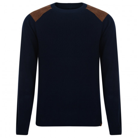 Blend Crew Neck Cotton Knit Pullover Navy Blue Image