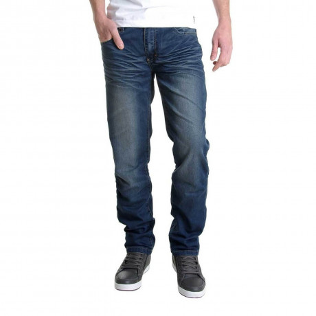 Crosshatch Straight Fit Farrow Jeans Faded Mid Wash Image
