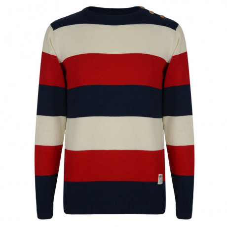 Crosshatch Crew Neck Striped Jumper Red Image