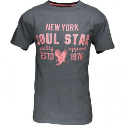 Soul Star New York Print T-shirt Charcoal Grey Image