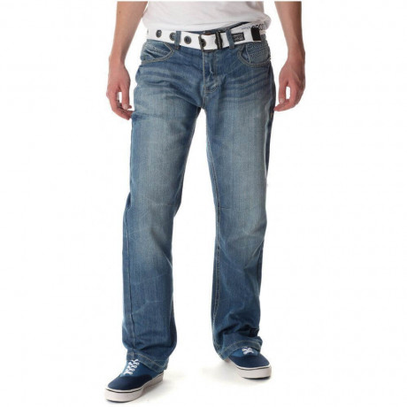 Crosshatch Straight Fit Denim Jeans Faded Stone Wash Blue | Jean Scene