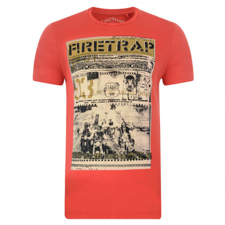 Firetrap Crew Neck Route 66 Print T-shirt Java Orange Image