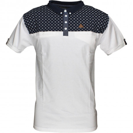 Soul Star Polo Pique T-Shirt White Navy Image