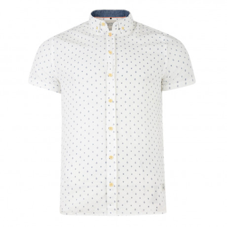 Blend Regular Fit Short Sleeve Pattern Shirt Off White Image