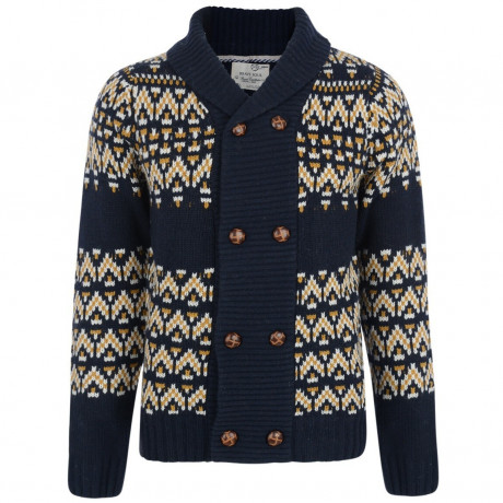 Brave Soul Heavy Knitted Button Front Cardigan Blue Image