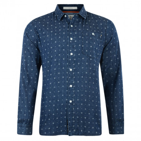 Crosshatch Print Shirt Long Sleeve Cotton Blue Image