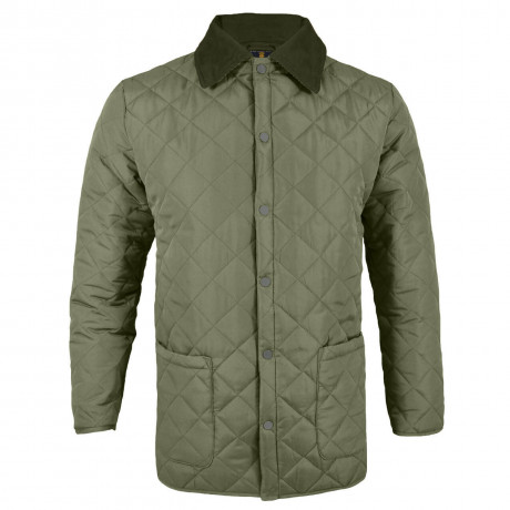 Soul Star Dimond Quilt Jacket Khaki Green Image