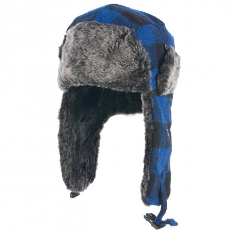 Crosshatch Aviator Faux Fur Trapper Hat Blue Check  Image