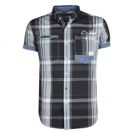 Smith & Jones Narrow Check Shirt Short Sleeve Black Image