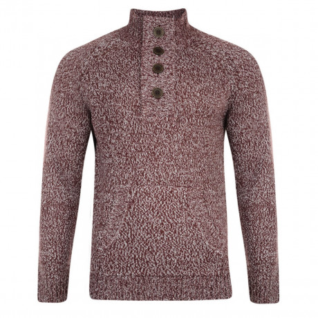 Smith & Jones Y Neck Knit Jumper Tawny Port Marl Image