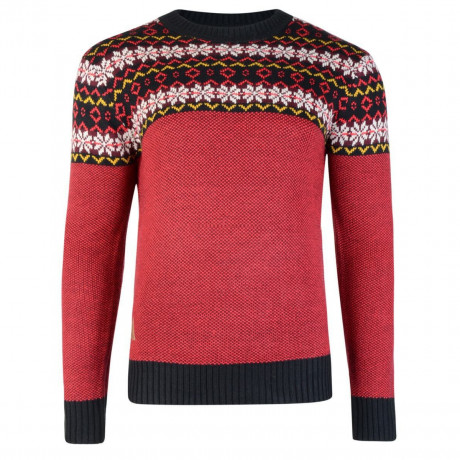 Rock & Revival Joseph Fair Isle Crew Neck Knit Jumper Poppy Red Image