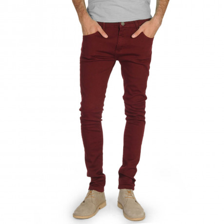 Soul Star Slim Tapered Skinny Fit Burgundy Denim Jeans Image