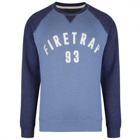 Firetrap Crew Neck Faded Print Sweatshirt Captain Blue Image