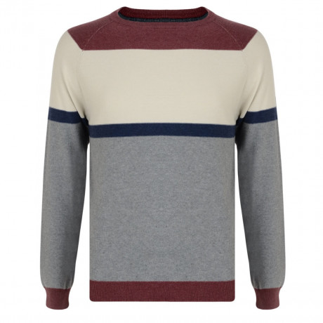 Smith & Jones Crew Neck Stripe Jumper Mid Grey Image
