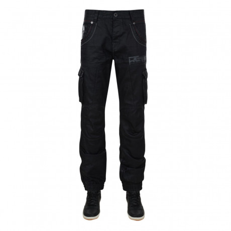 Rawcraft Tapered Fit Cuffed Cargo Jeans Black Coated Denim Image
