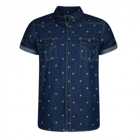 Smith & Jones Disclosure Denim Shirt Short Sleeve Dark Blue Image