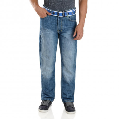 Crosshatch Patterson Denim Jeans Faded Light Wash Blue Image