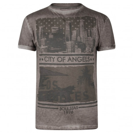 Soul Star Print T-shirt City of Angels Burgundy Brown Image