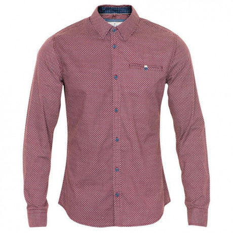 Blend Long Sleeve Pattern Shirt Burgundy Red Image